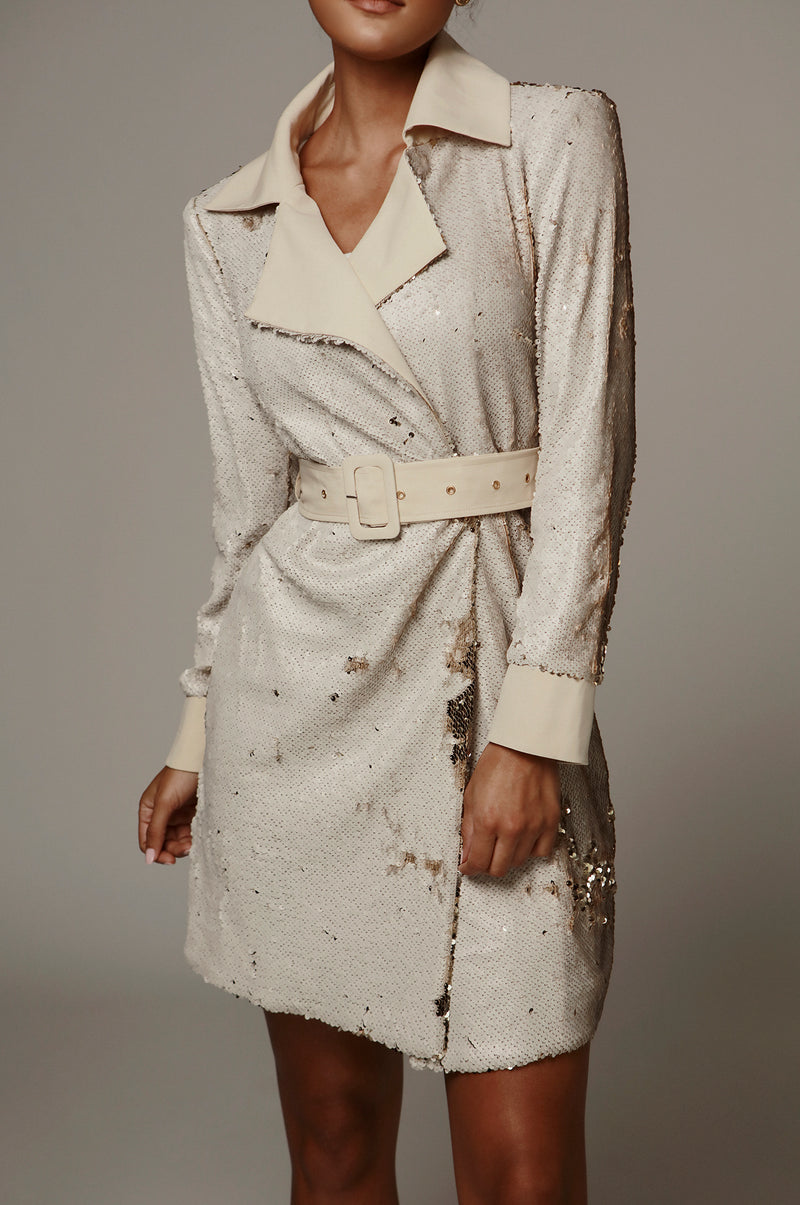 Ivory Sequin Two Tone Trench Coat