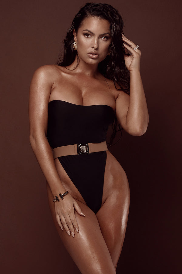 Black Amara Belted One Piece