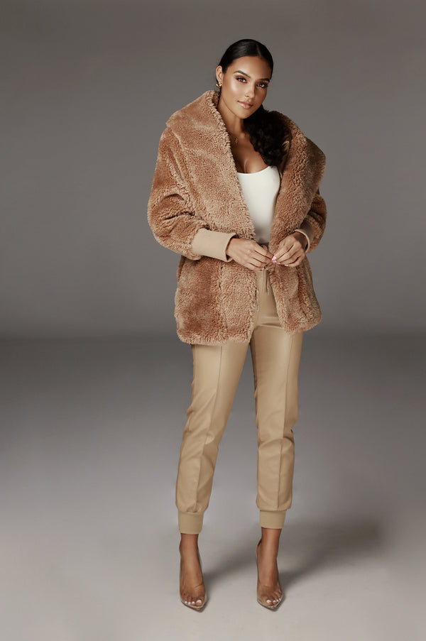 Tan Legend Faux Shearing Jacket