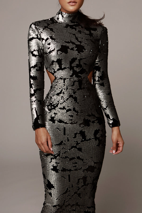 Silver Utopia Sequin Mid Cut Dress