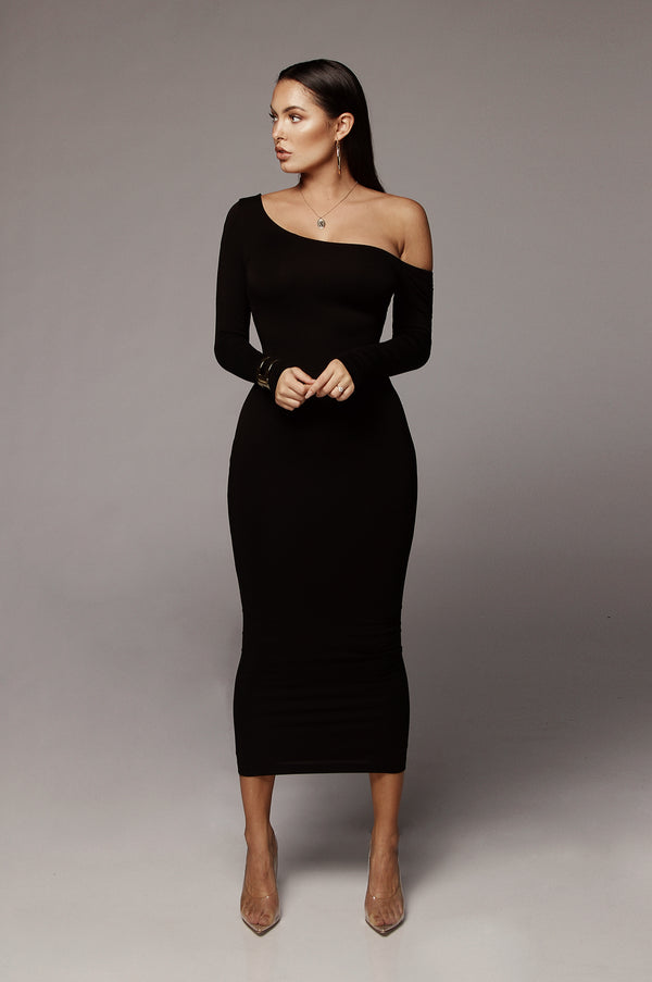 Black Serene One Shoulder JLUXBASIX Dress