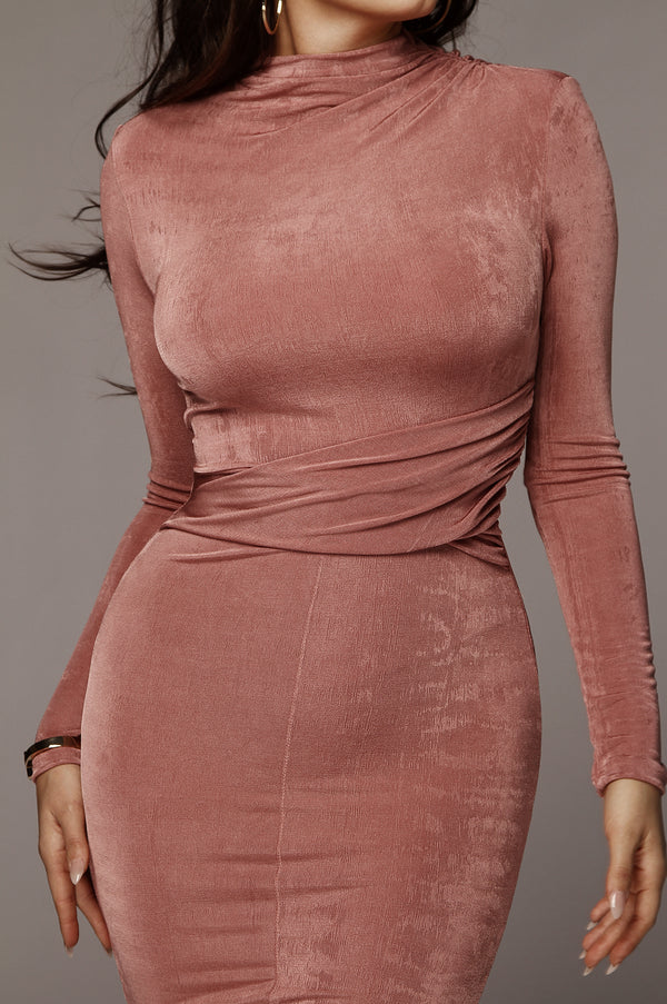 Mauve Grace Ruched Overlay Dress