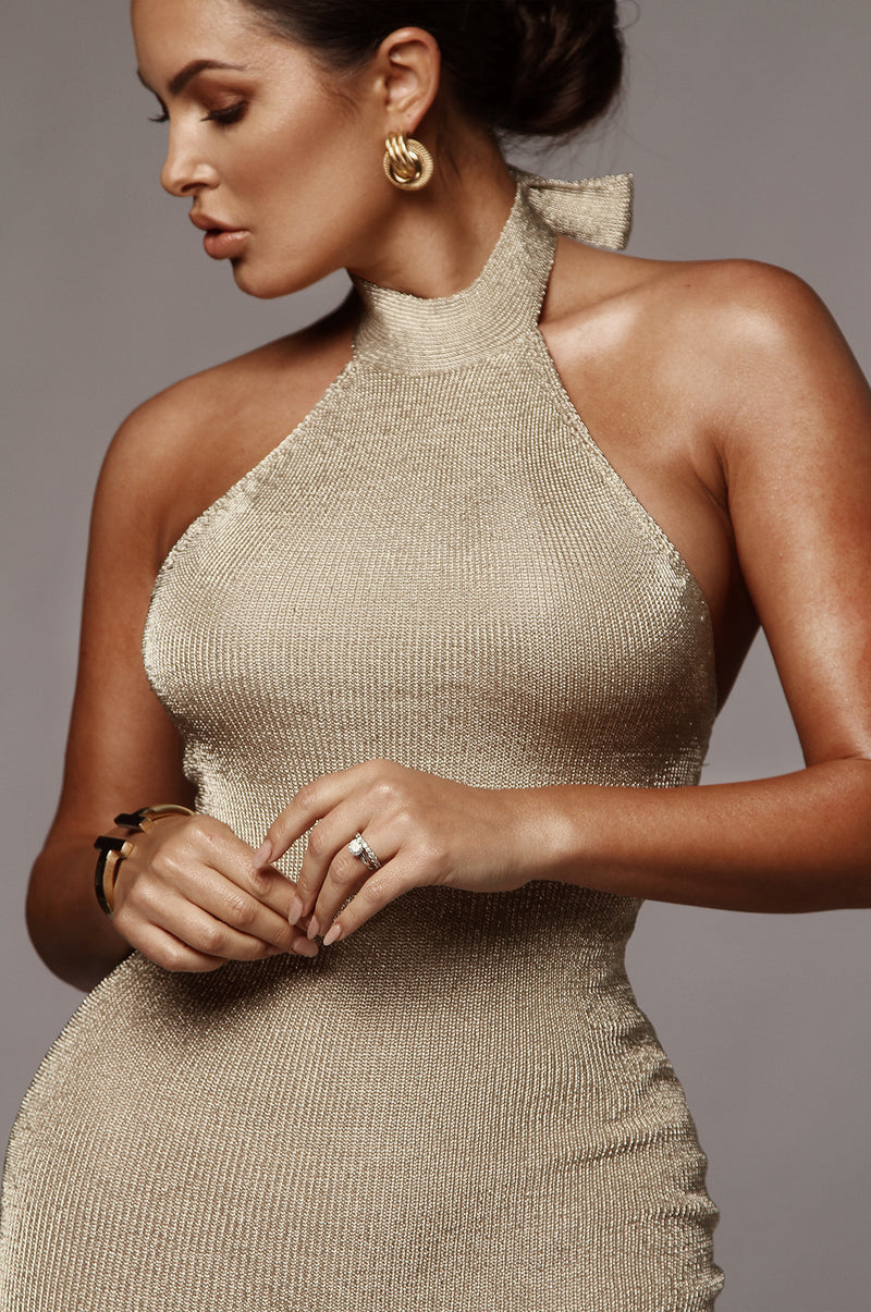 Gold Gwen Metallic Knit Dress