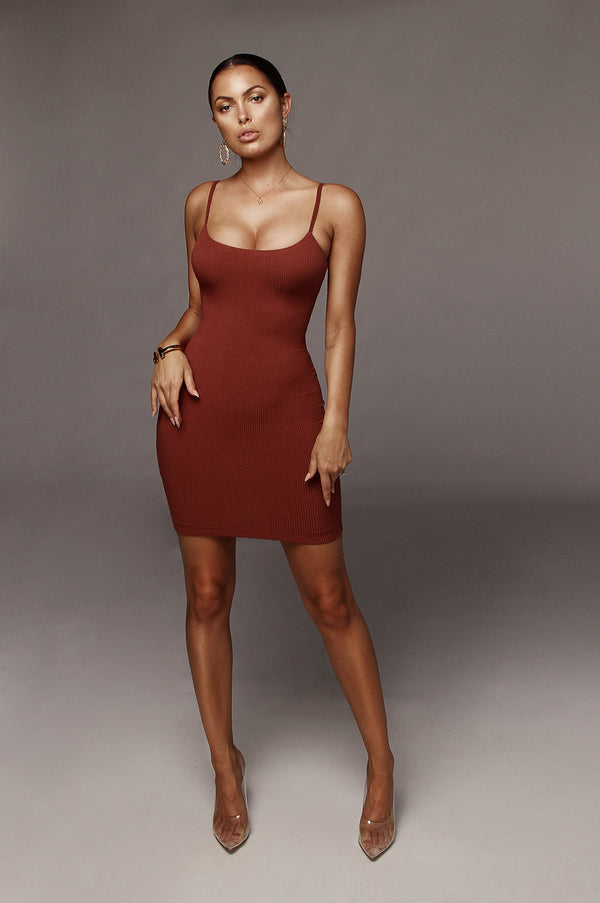 Rust Gem Ribbed Tank Dress