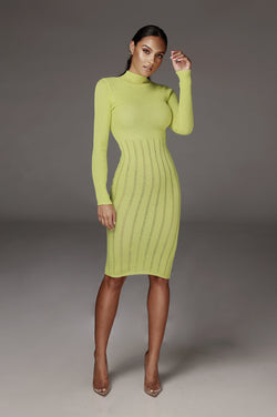 Neon Green Cheri High Neck Sweater Dress