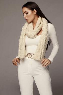 Cream Cable Knit Scarf
