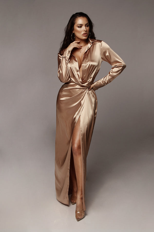 Tan Solange Plunging Maxi Dress
