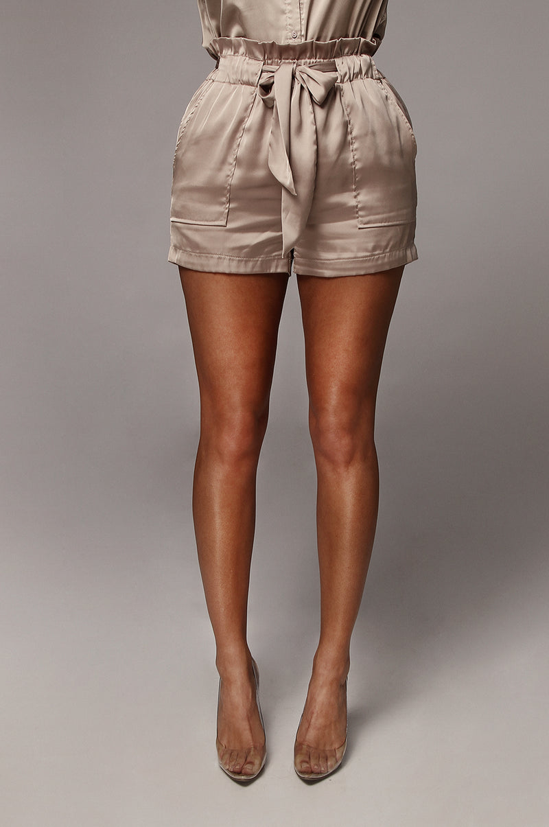 Sandy Grey Emilee Satin Shorts
