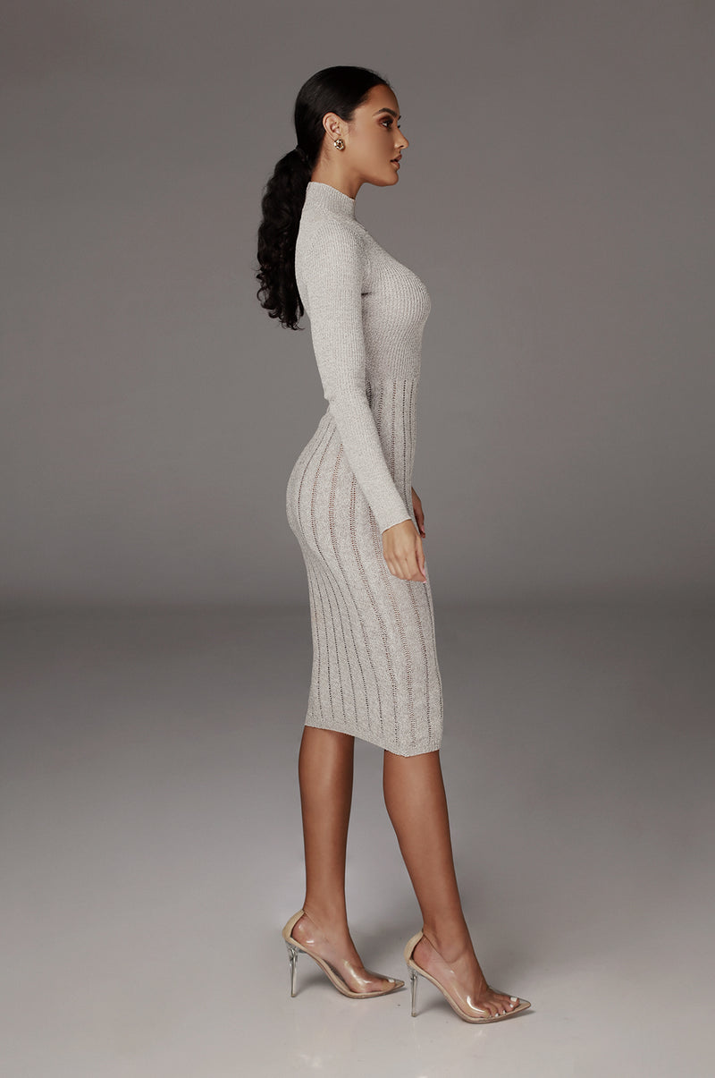 Grey Cheri High Neck Sweater Dress