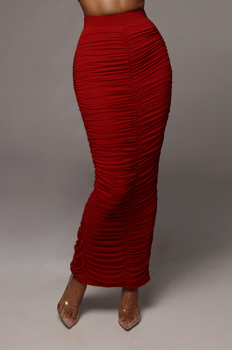 Red Maloh Ruched Skirt