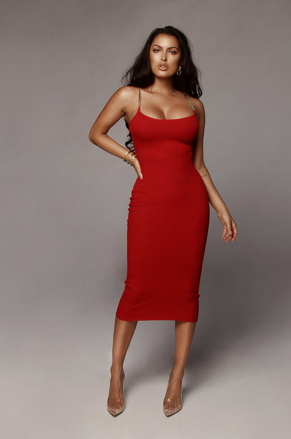 Red Two Chains Ribbed Dress