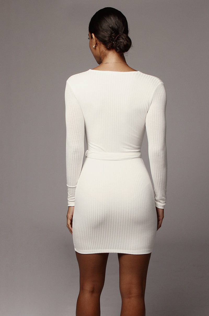 Ivory Alondra Deep V Mini Dress