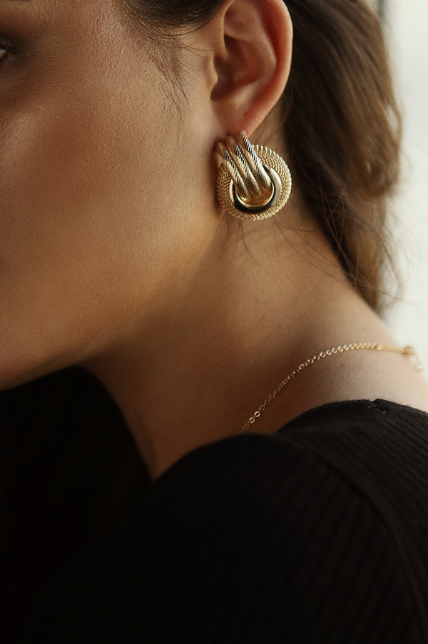Gold Mesh And Rope Earrings