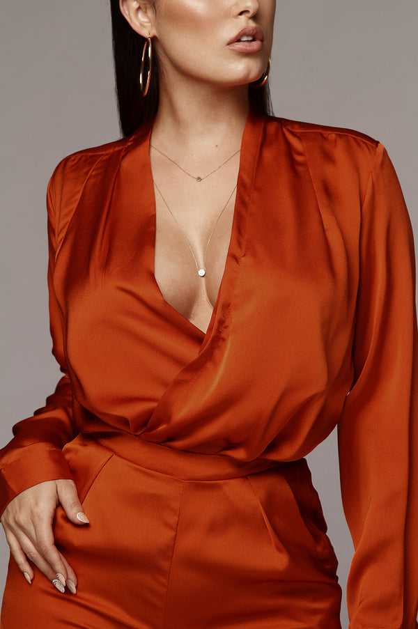 Orange Jana Wrap Blouse