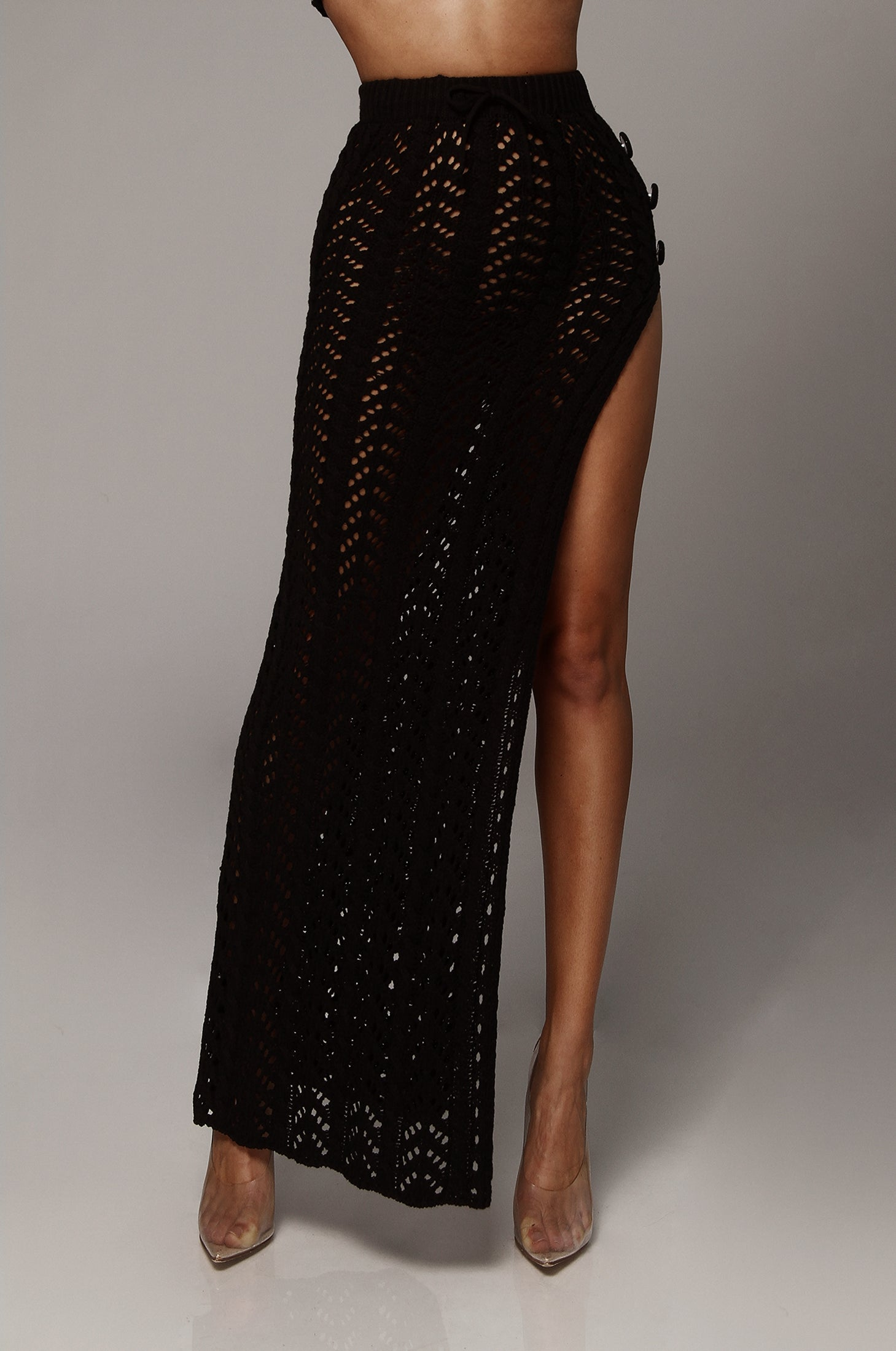 Black Tatiana Knit Maxi Skirt