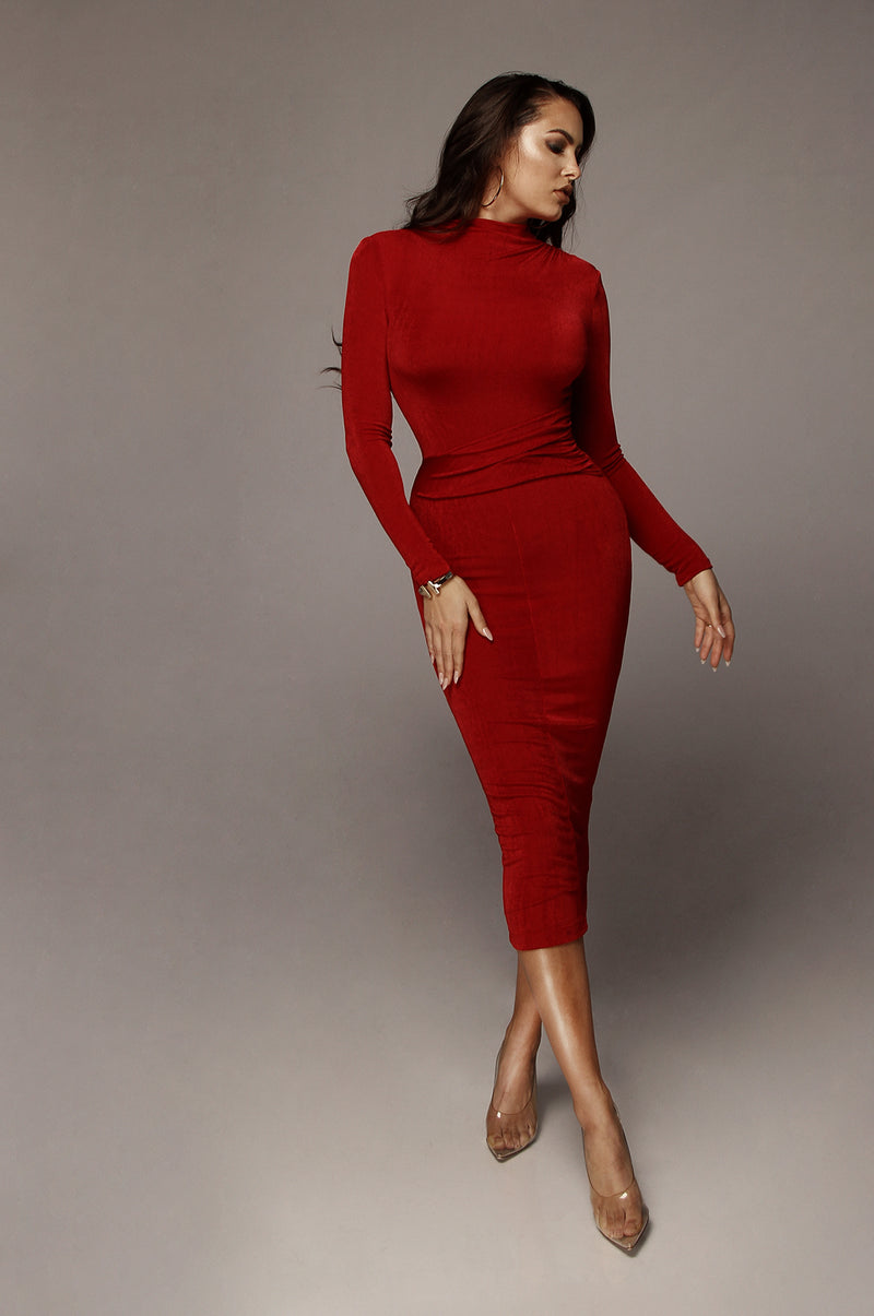 Red Grace Ruched Overlay Dress