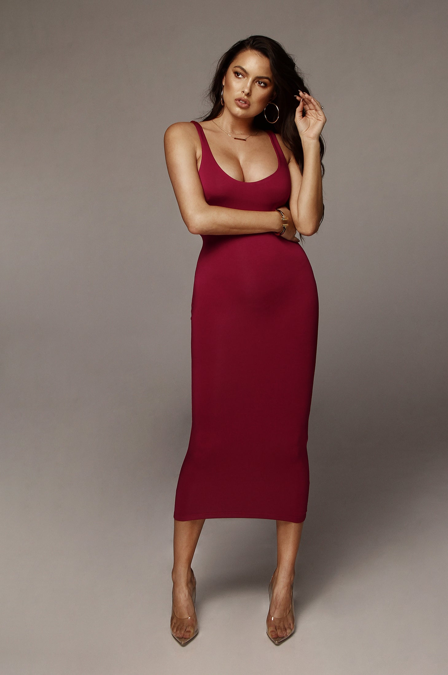 Wine Rachel JLUXBASIX Midi dress