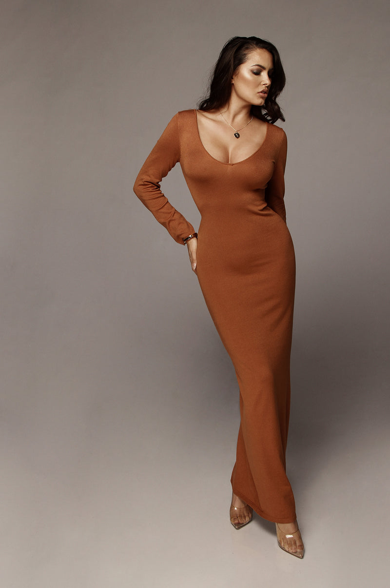 Rust Jordan Ribbed Dress