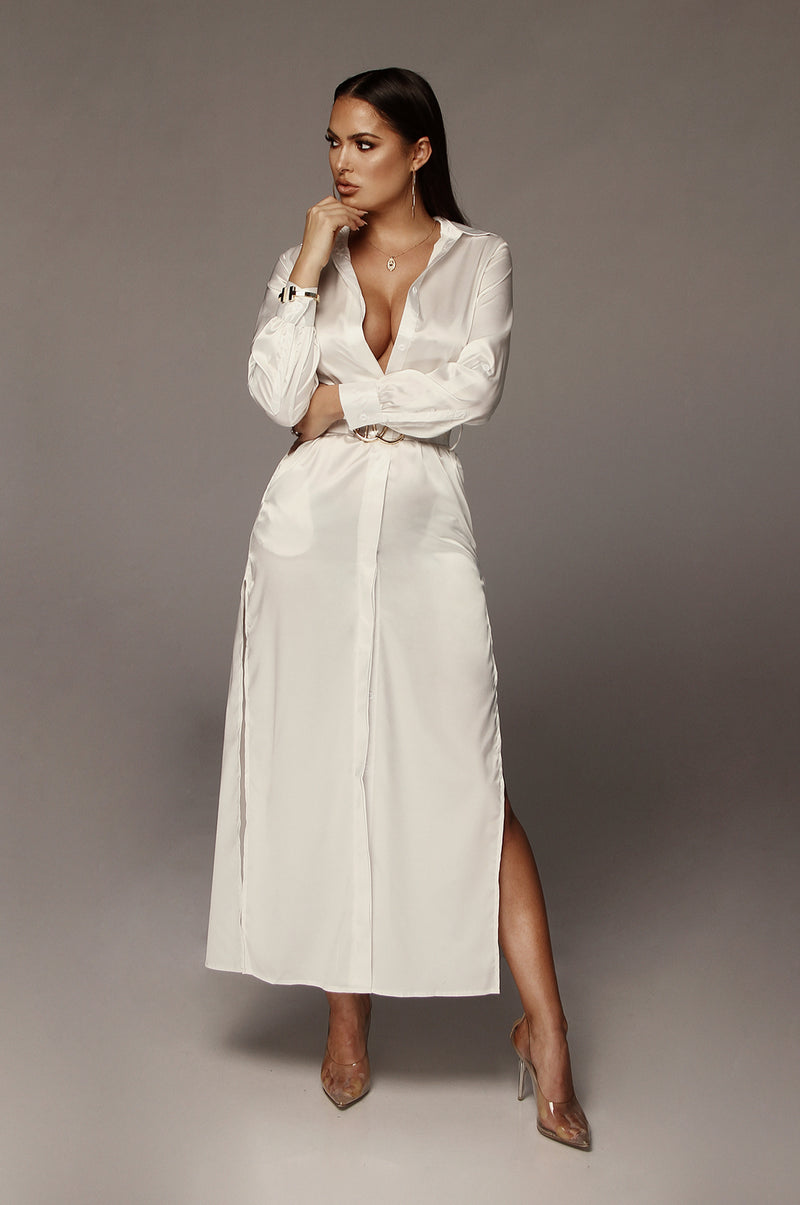 White Reyna Silk Shirt Dress