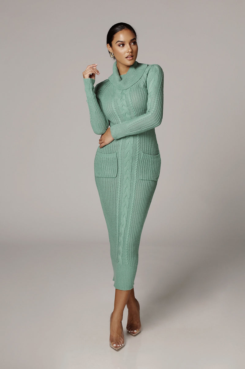 Teal Francesca Cable Sweater Dress