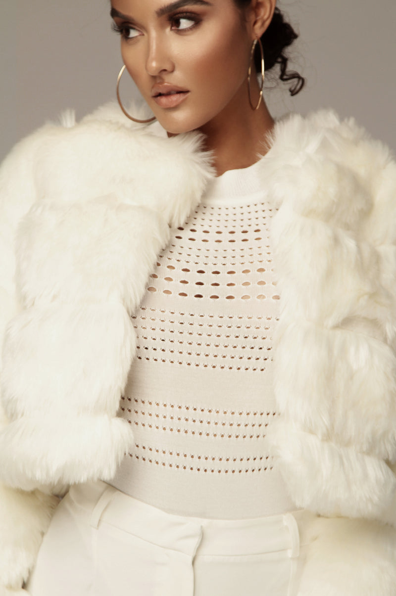 Ivory Big Sur Faux Fur Coat