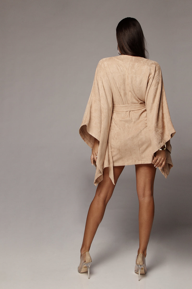 Beige Suede Belted Cape