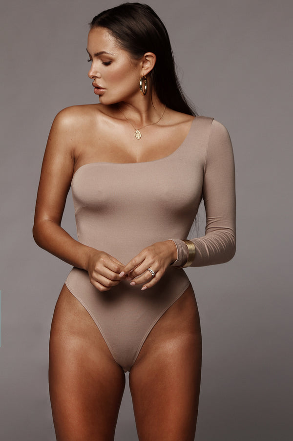 Taupe Marvel JLUXBASIX One Shoulder Bodysuit
