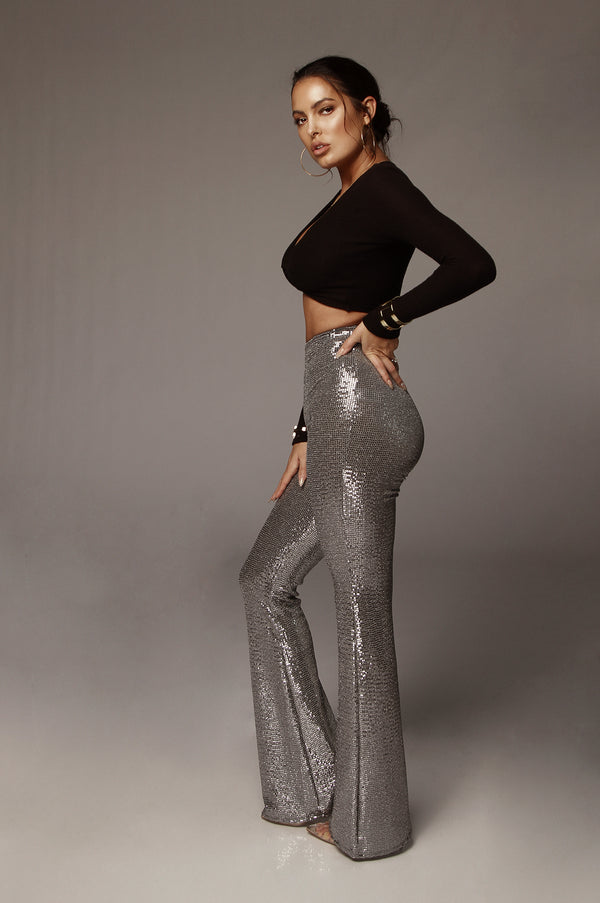 Silver Sequin Disco Pants
