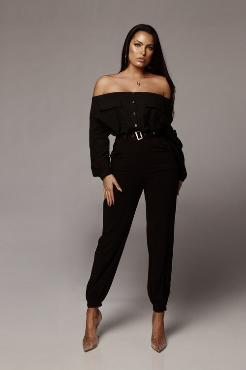 Black Nina Belted Pants