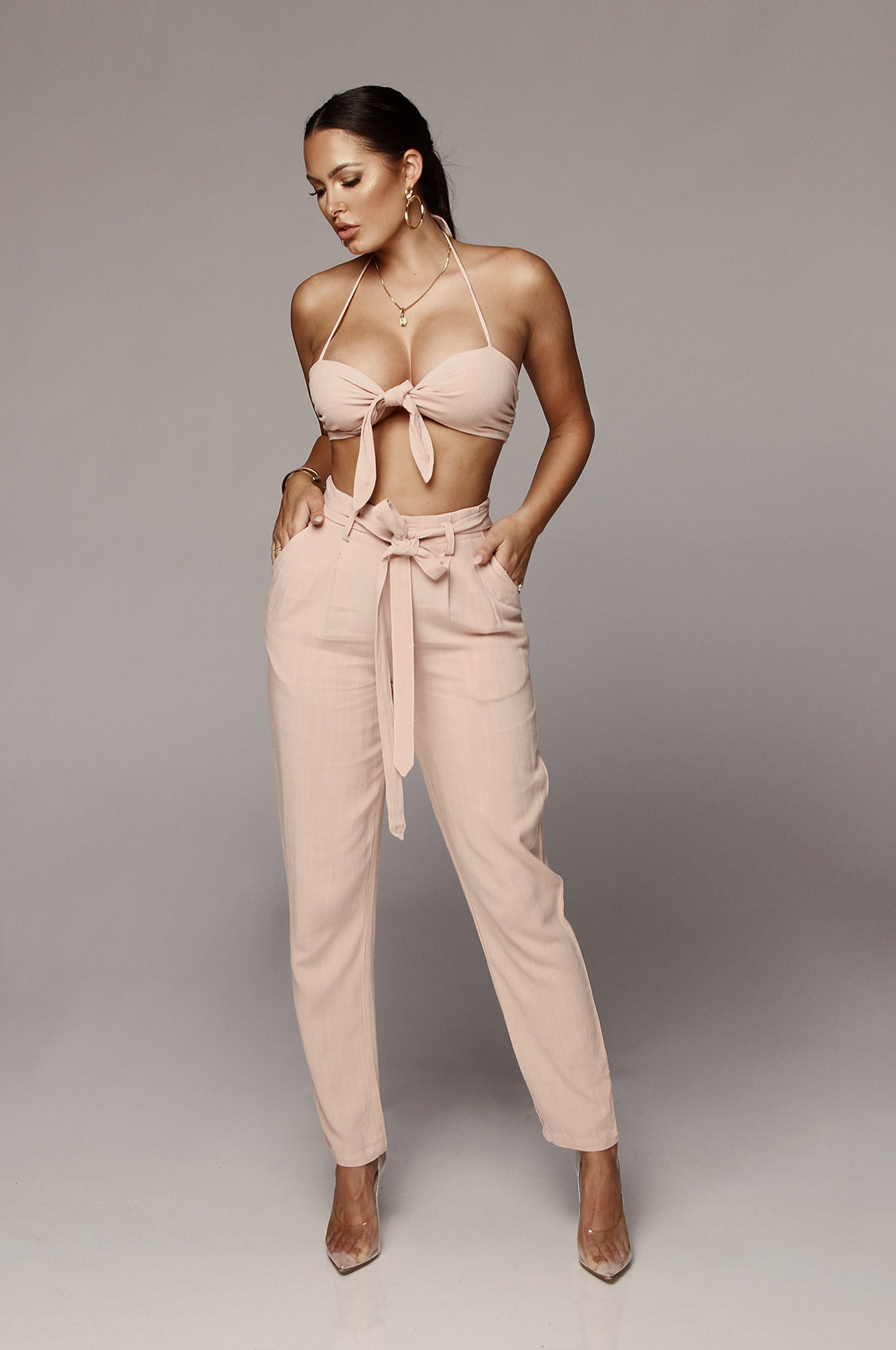 Dusty Rose Clara Tie Top and Bottom Set
