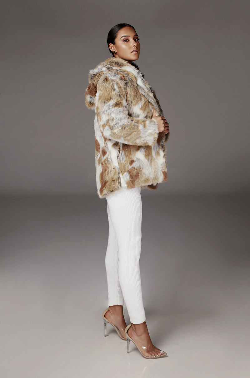 Normani Hooded Faux Fur Coat