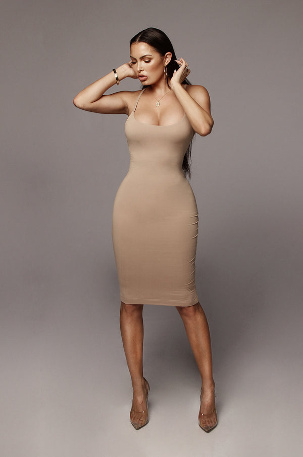 Taupe Saidey JLUXBASIX Dress