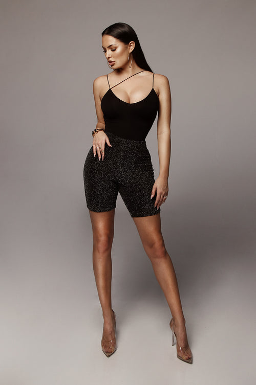 Black Sparkle Biker Short