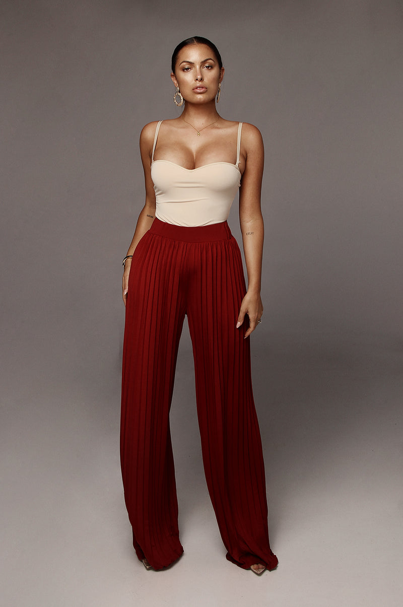Red Half Dollar Pleated Wide Leg Pant