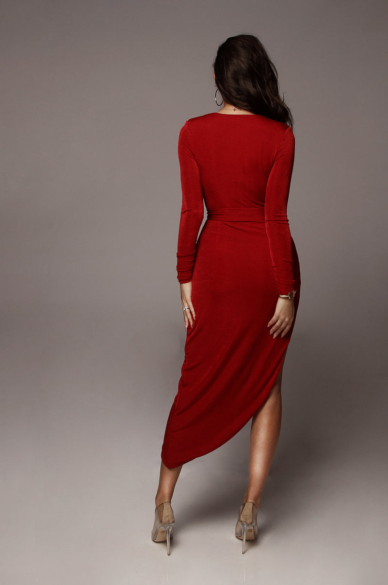 Red Teresa High Slit Maxi Dress