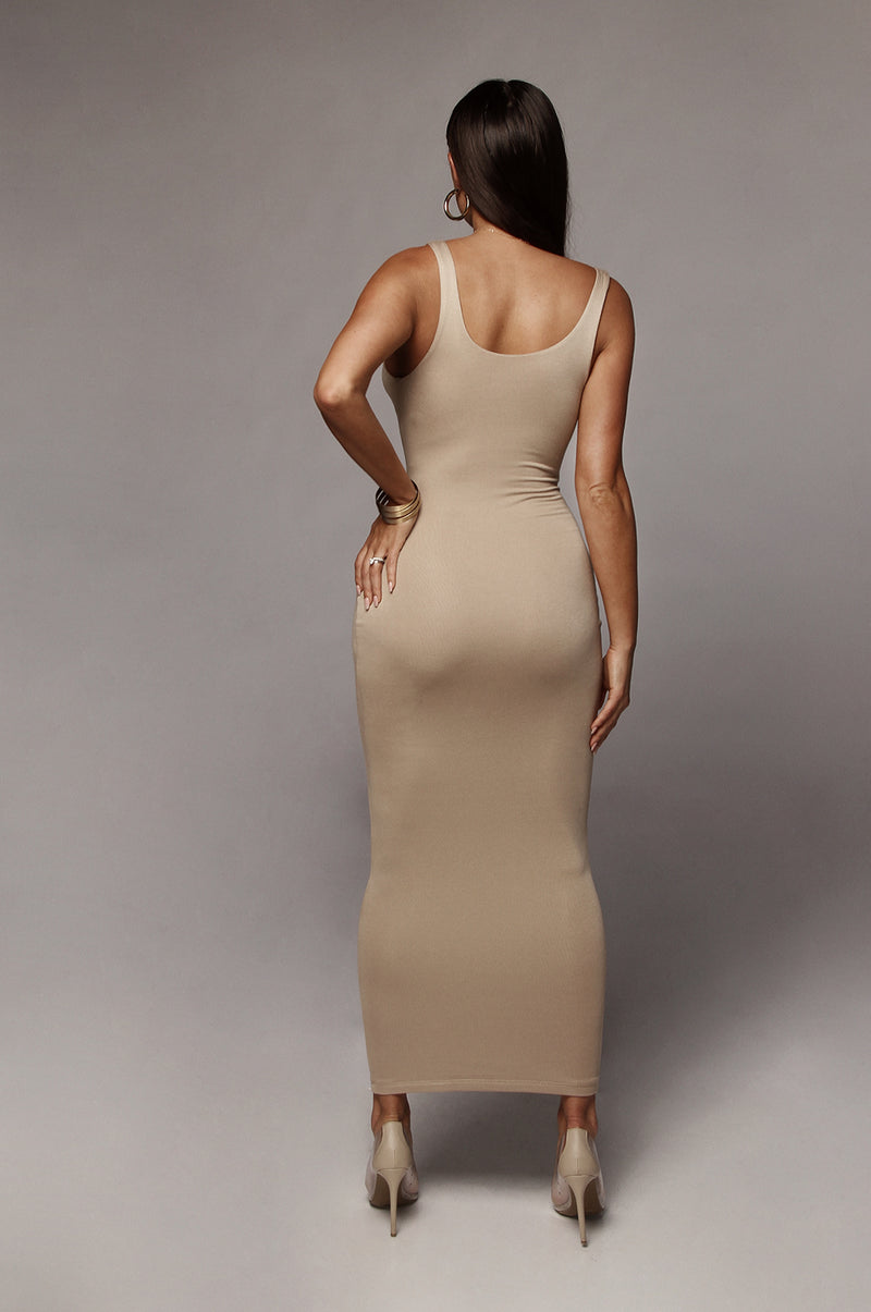Taupe Leeya Scoop Neck Maxi Dress