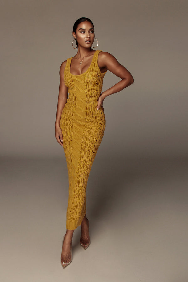 Yellow Ameri Cable Sweater Dress