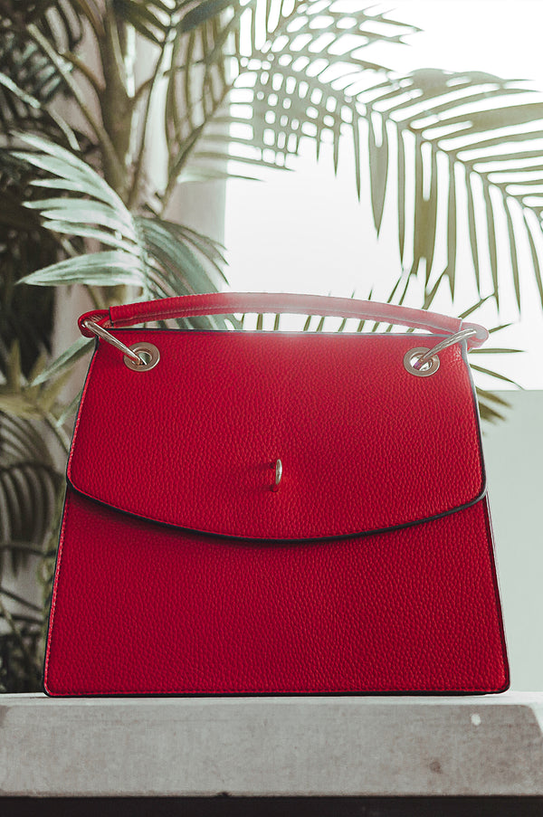 Red In Tune Faux Leather Tote
