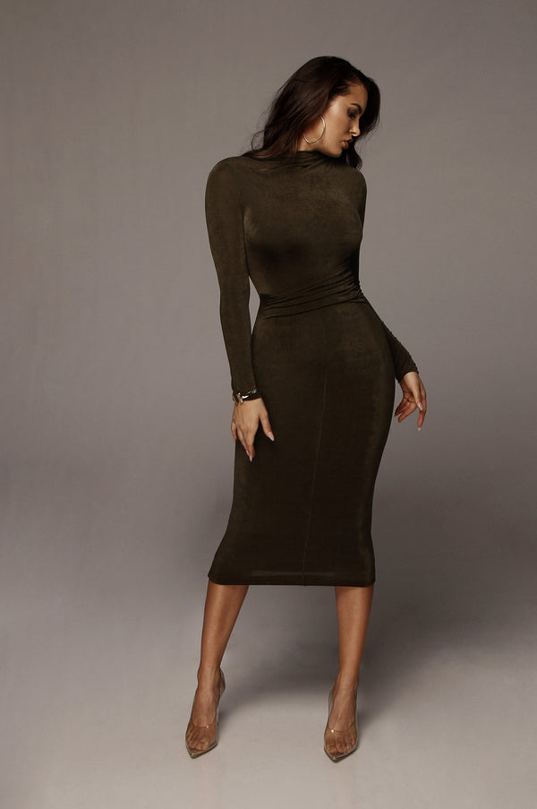 Olive Grace Ruched Overlay Dress