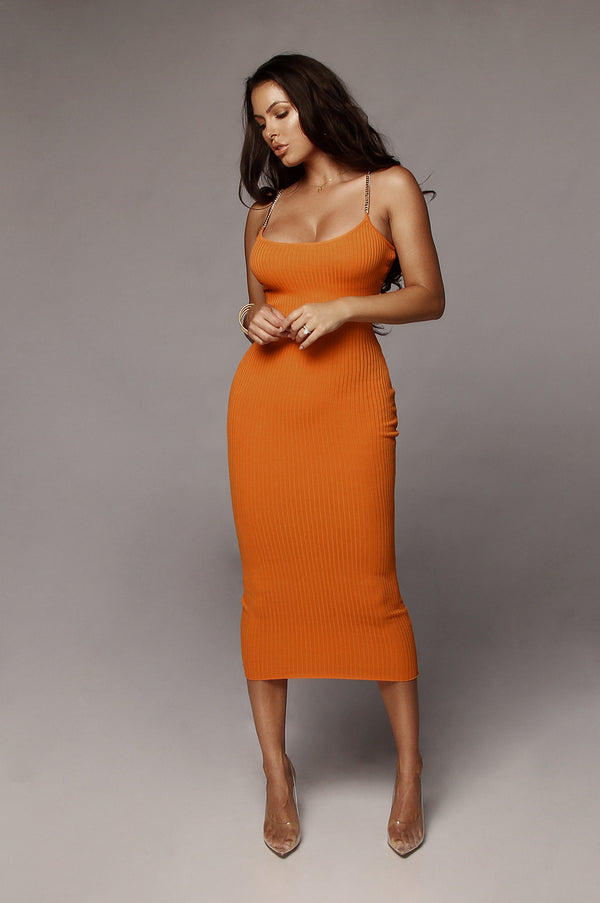 Orange Two Chains Ribbed Dress