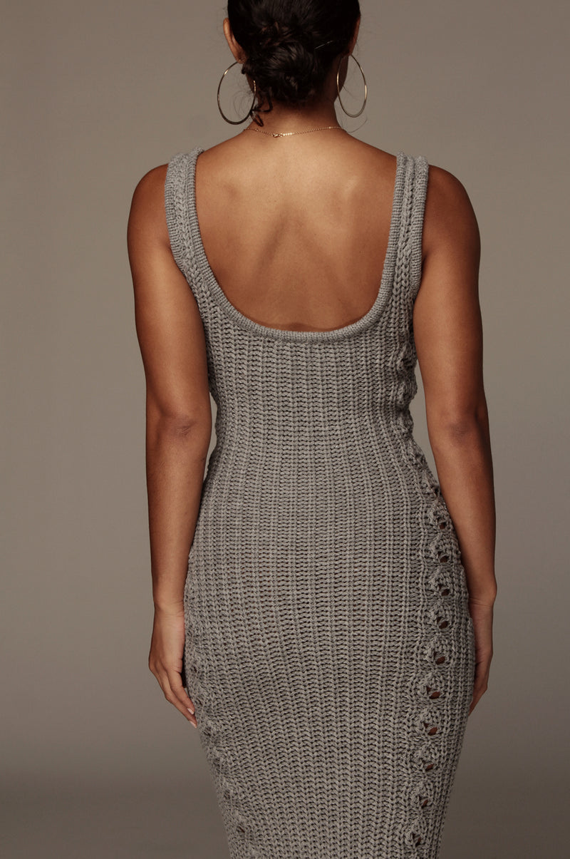 Grey Ameri Cable Sweater Dress