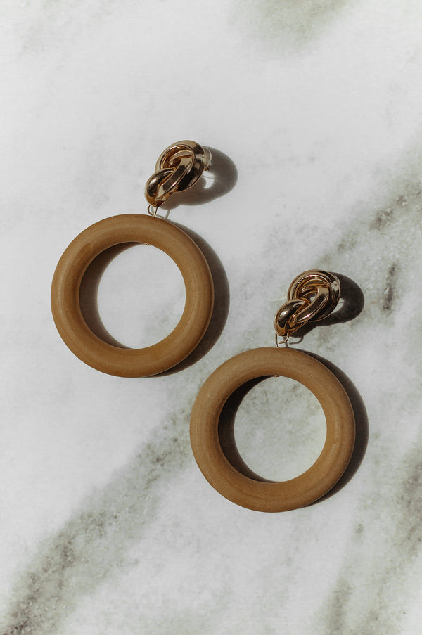 Twisted Wood Drop Hoops