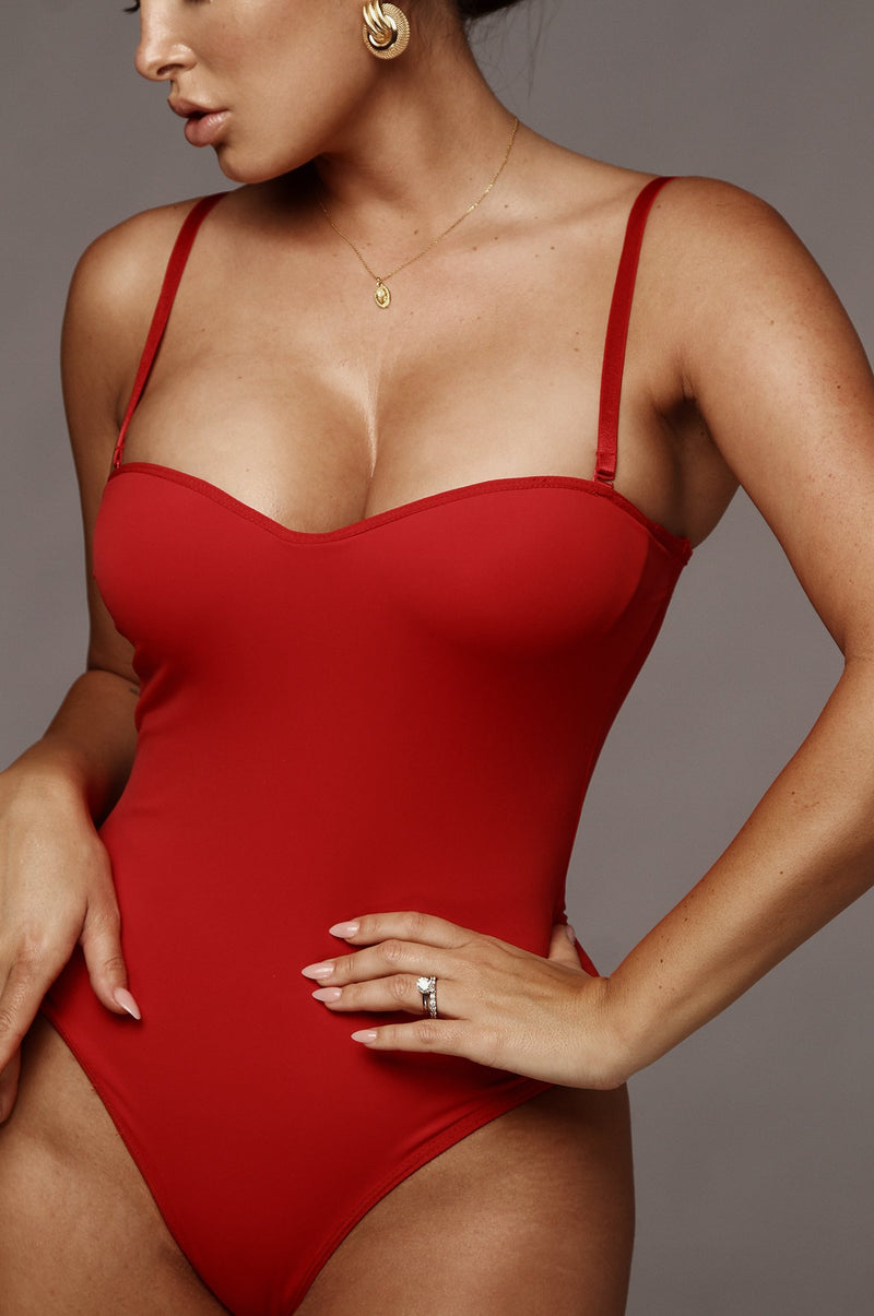 Red Monroe Shapewear Bustier Bodysuit