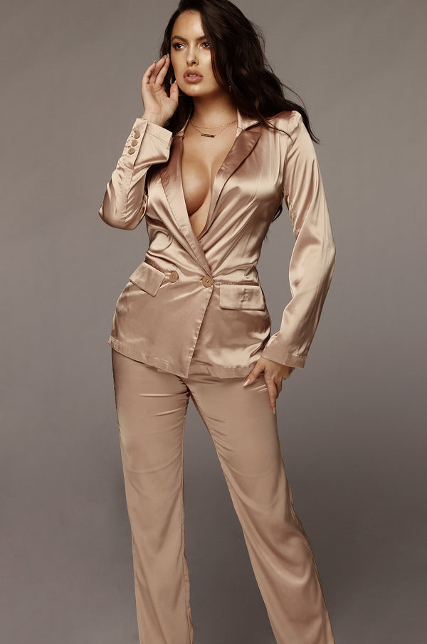 Hazelnut Harmony Satin Blazer Set
