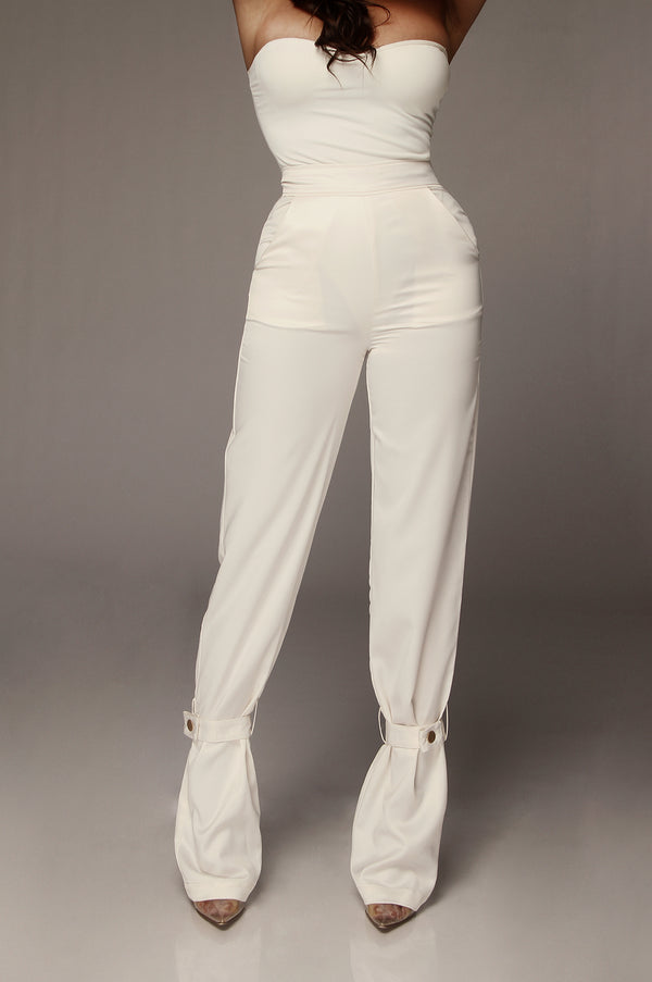Pearl Satin Belted Cuff Pants