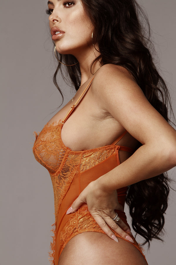 Orange Lala Lace Lingerie Bodysuit