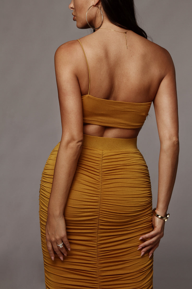Mustard Maloh Ruched Skirt