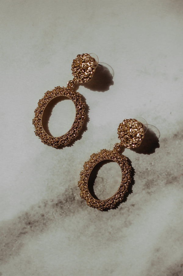 Gold Oval Vintage Textured Earrings