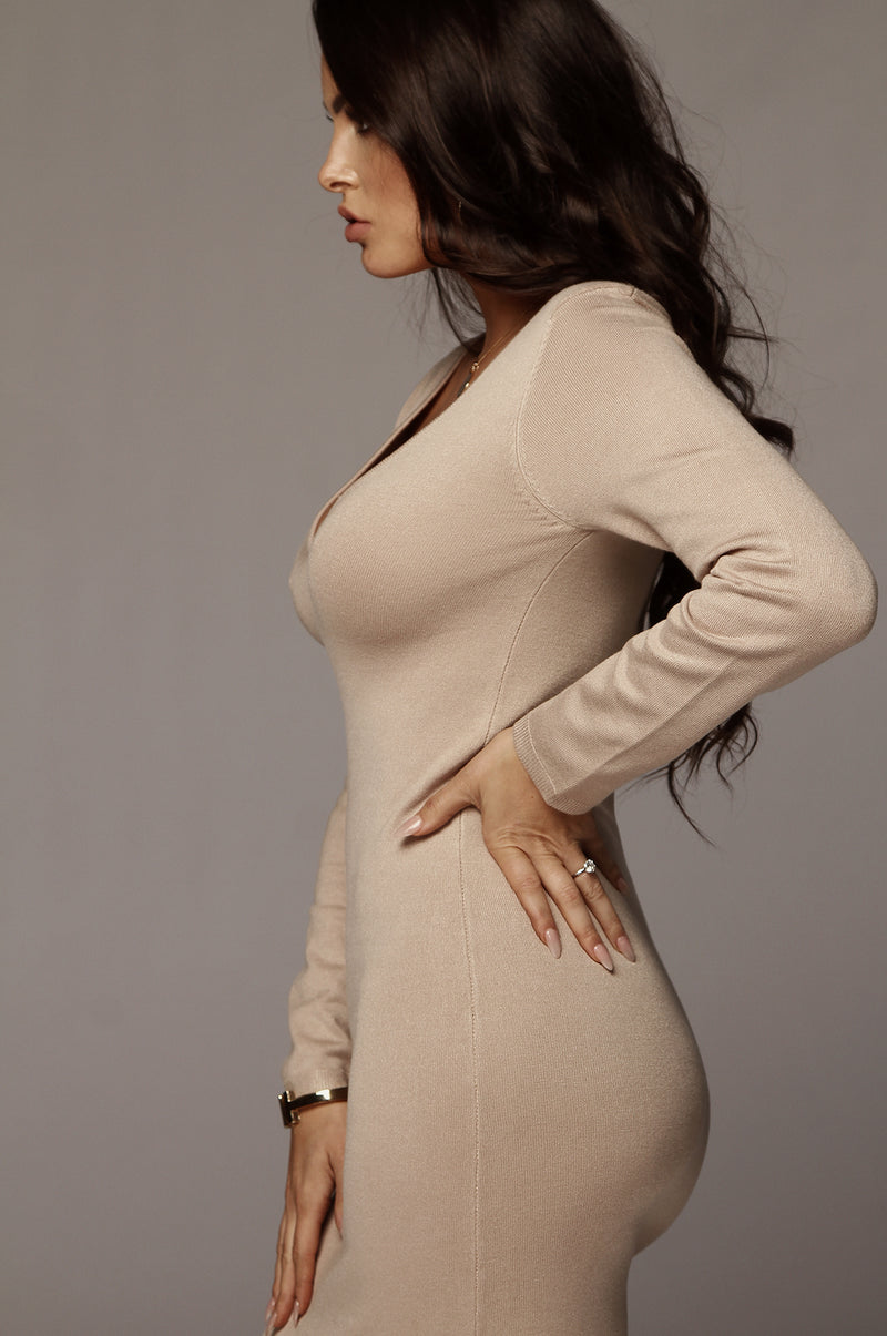 Beige Jordan Ribbed Dress