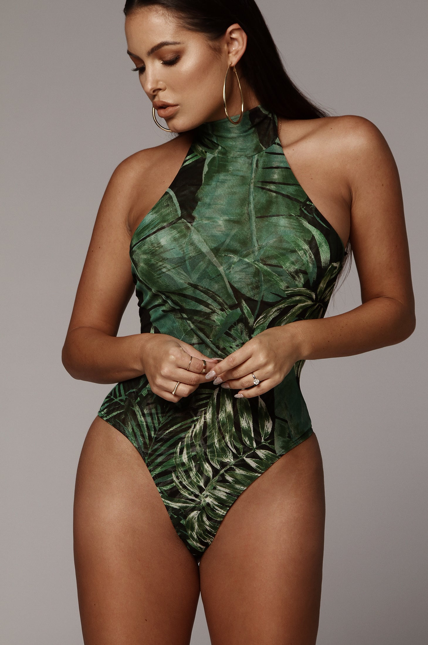 Black Tulum Palm Print Bodysuit